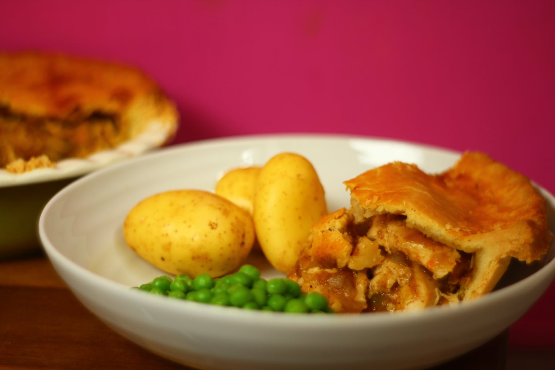 Old Fashioned Retro Chicken Curry Pie.