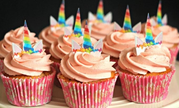 strawberry cupcakes with unicorn horns