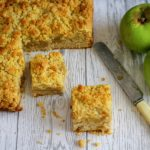 Apple Crumble Cake cut into squares