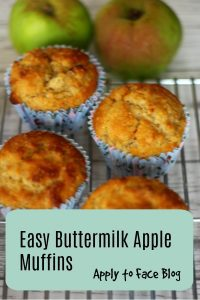 pin for easy buttermilk, cinnamon and apple muffins