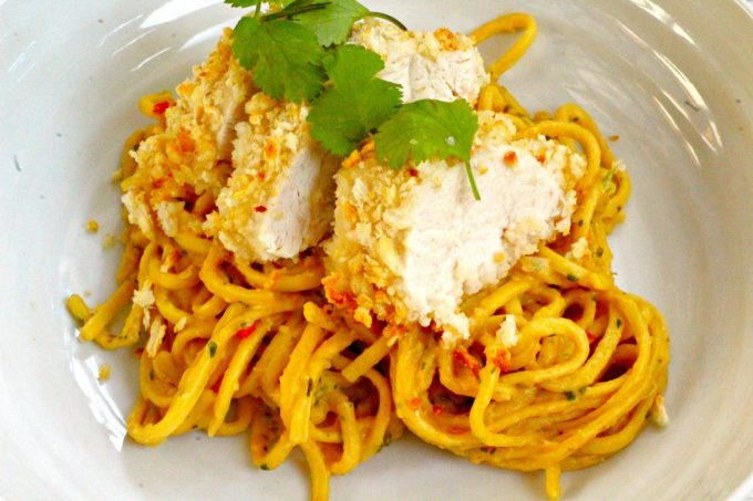 Bang Bang Chicken and Noodles with Asian Satay Sauce