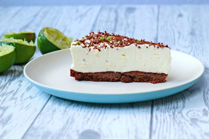 Slice of Lime Cheesecake with Chocolate Biscuit Base