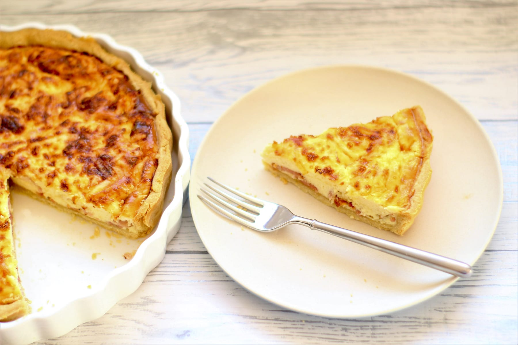 Slice of Quiche Lorraine on a plate