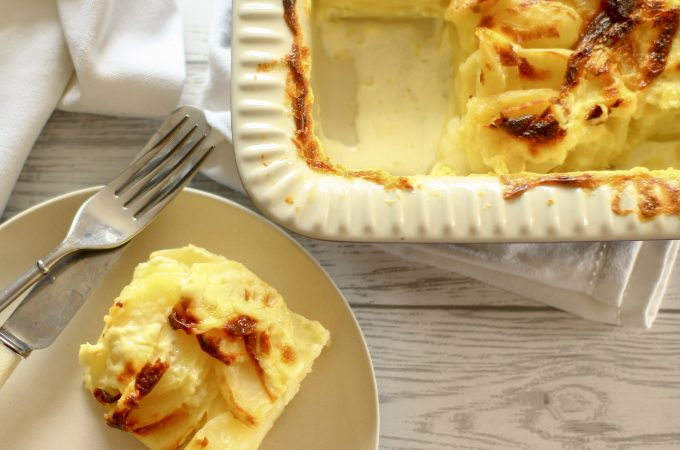 dauphinoise potatoes square on a plate
