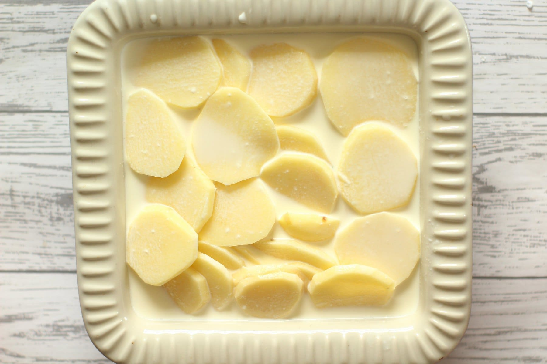 sliced potatoes ready for baking