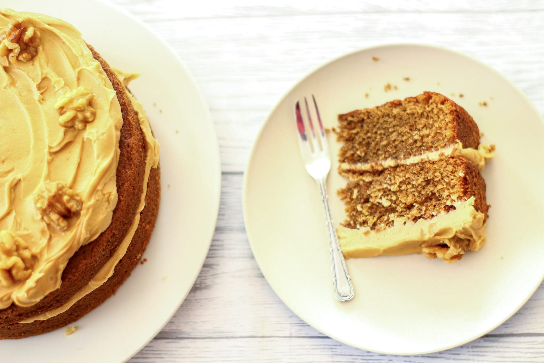 coffee and walnut cake on a plate