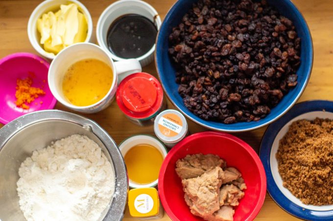 flour, brown sugar, dried fruit, orange zest, baking powder, brandy, eggs, black treacle, cinnamon, mixed spice, butter and chestnut puree