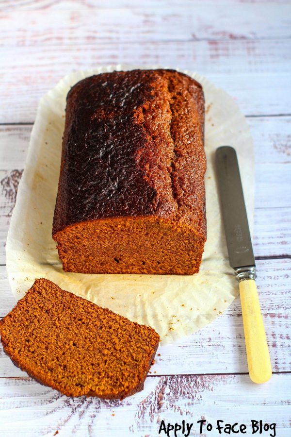 ginger cake with one slice on it's side