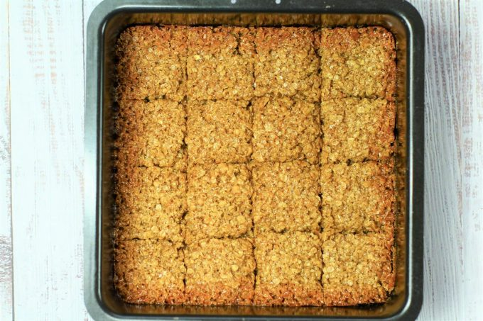 Flapjacks Squares marked out in the tin