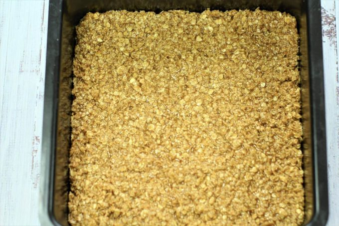 flapjack oats in the baking tin