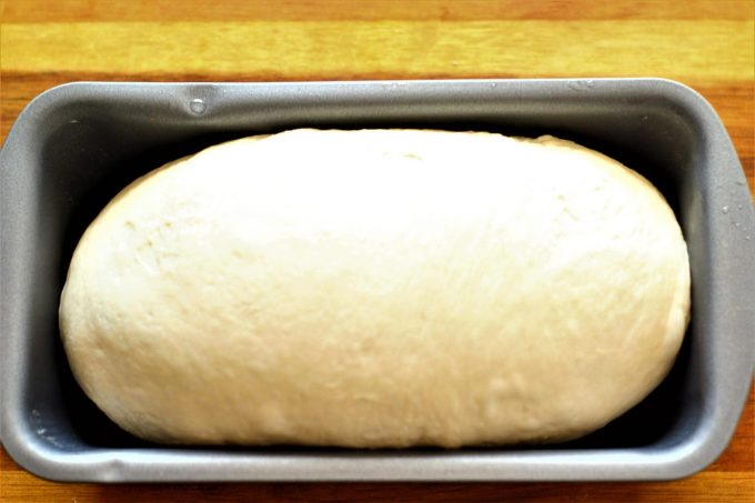 white bread dough in baking loaf tin