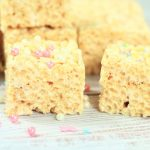 marshmallow krispies with sprinkles on top.